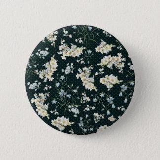 Dark vintage flower wallpaper pattern pinback button