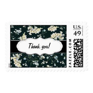 Dark vintage flower wallpaper pattern postage