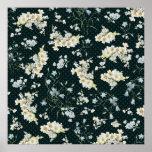 Dark vintage flower wallpaper pattern poster