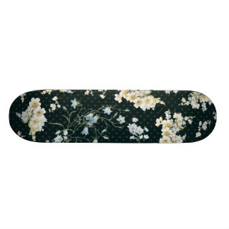 Dark vintage flower wallpaper pattern skateboard deck