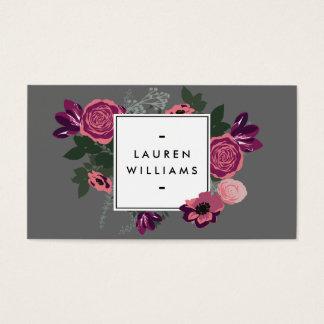Dark Vintage Modern Floral Motif Gray Designer Business Card