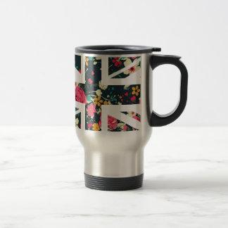 Dark Vintage Rose Union Jack British(UK) Flag Travel Mug