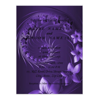 Dark Violet Abstract Flowers 6.5x8.75 Paper Invitation Card