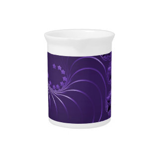 Dark Violet Abstract Flowers Drink Pitchers