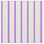 [ Thumbnail: Dark Violet and Beige Stripes Pattern Fabric ]