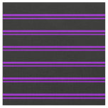 [ Thumbnail: Dark Violet and Black Lined Pattern Fabric ]