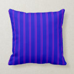 [ Thumbnail: Dark Violet and Blue Lines Pattern Throw Pillow ]