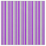 [ Thumbnail: Dark Violet and Grey Colored Lines Pattern Fabric ]