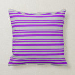 [ Thumbnail: Dark Violet and Grey Lined/Striped Pattern Pillow ]