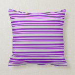 [ Thumbnail: Dark Violet and Light Grey Colored Lines Pattern Throw Pillow ]