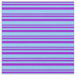[ Thumbnail: Dark Violet and Light Sky Blue Colored Stripes Fabric ]