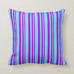 [ Thumbnail: Dark Violet and Light Sky Blue Colored Stripes Throw Pillow ]