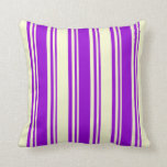 [ Thumbnail: Dark Violet and Light Yellow Stripes Throw Pillow ]