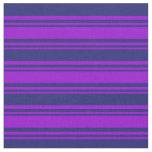 [ Thumbnail: Dark Violet and Midnight Blue Stripes Pattern Fabric ]