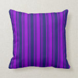 [ Thumbnail: Dark Violet and Midnight Blue Stripes Pattern Throw Pillow ]