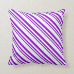 [ Thumbnail: Dark Violet and Mint Cream Colored Lines Pillow ]