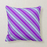 [ Thumbnail: Dark Violet and Powder Blue Striped/Lined Pattern Throw Pillow ]