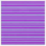 [ Thumbnail: Dark Violet and Purple Colored Pattern of Stripes Fabric ]