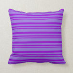 [ Thumbnail: Dark Violet and Purple Colored Pattern of Stripes Throw Pillow ]