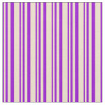 [ Thumbnail: Dark Violet and Tan Stripes/Lines Pattern Fabric ]