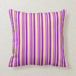 [ Thumbnail: Dark Violet and Tan Stripes/Lines Pattern Pillow ]