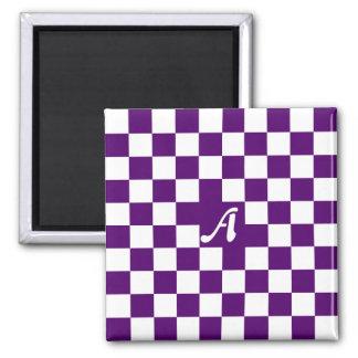 Dark Violet and White Checkered Monogram Magnet