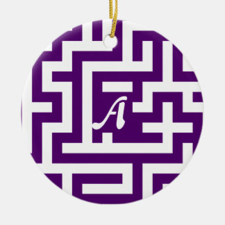 Dark Violet and White Maze Monogram Double-Sided Ceramic Round Christmas Ornament