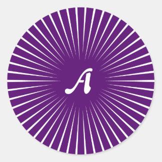 Dark Violet and White Sunrays Monogram Sticker
