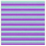 [ Thumbnail: Dark Violet & Aquamarine Colored Lined Pattern Fabric ]