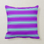 [ Thumbnail: Dark Violet & Aquamarine Colored Stripes Pillow ]
