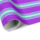 [ Thumbnail: Dark Violet & Aquamarine Colored Stripes Wrapping Paper ]