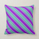 [ Thumbnail: Dark Violet, Aquamarine & Powder Blue Pattern Throw Pillow ]