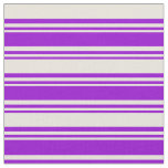 [ Thumbnail: Dark Violet & Beige Colored Lined/Striped Pattern Fabric ]