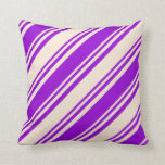[ Thumbnail: Dark Violet & Beige Colored Lined/Striped Pattern Throw Pillow ]