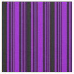 [ Thumbnail: Dark Violet & Black Colored Pattern of Stripes Fabric ]