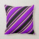[ Thumbnail: Dark Violet, Black & Tan Colored Stripes Pattern Throw Pillow ]