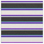 [ Thumbnail: Dark Violet, Blue, Beige, Black & Turquoise Lines Fabric ]