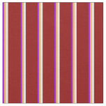 [ Thumbnail: Dark Violet, Brown, Bisque, and Dark Red Lines Fabric ]