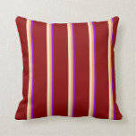 [ Thumbnail: Dark Violet, Brown, Bisque, and Dark Red Lines Throw Pillow ]