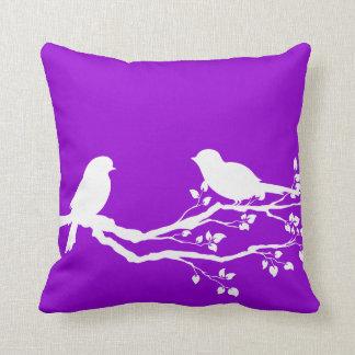 Dark Violet Country Birds At Rest Throw Pillow