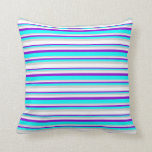 [ Thumbnail: Dark Violet, Cyan, Light Grey, and White Colored Throw Pillow ]