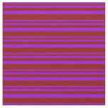 [ Thumbnail: Dark Violet & Dark Red Stripes Fabric ]