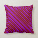 [ Thumbnail: Dark Violet & Dark Red Stripes Throw Pillow ]