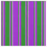 [ Thumbnail: Dark Violet, Green, and Orchid Colored Stripes Fabric ]