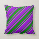 [ Thumbnail: Dark Violet, Green, and Orchid Colored Stripes Throw Pillow ]