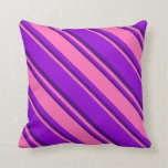 [ Thumbnail: Dark Violet, Hot Pink, and Indigo Colored Pattern Throw Pillow ]