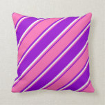 [ Thumbnail: Dark Violet, Hot Pink & Mint Cream Pattern Pillow ]
