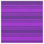 [ Thumbnail: Dark Violet & Indigo Colored Stripes Fabric ]