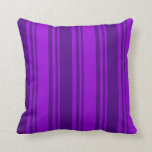 [ Thumbnail: Dark Violet & Indigo Colored Stripes Throw Pillow ]