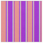 [ Thumbnail: Dark Violet, Light Coral, and Light Blue Pattern Fabric ]